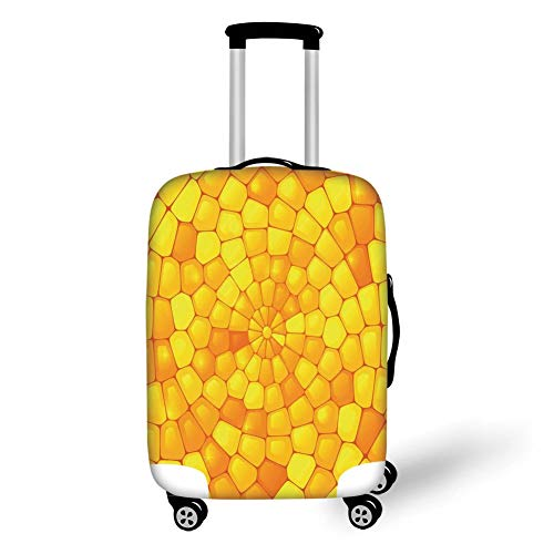 Travel Luggage Cover Suitcase Protector,Yellow,Abstract Stained Irregular Glass Mosaic Patterns Crystal Light Decor Illustration,Orange Yellow,for TravelXL 29.9x39.7Inch Lg Black Crystal