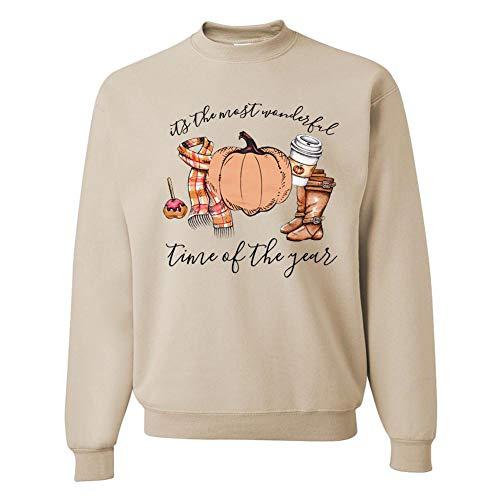 Frauen Männer Halloween Kürbis Rundhals-Langarm-Pullover Halloween-Cartoon-Druck Rundhals Langarm-Pullover, Khaki, L