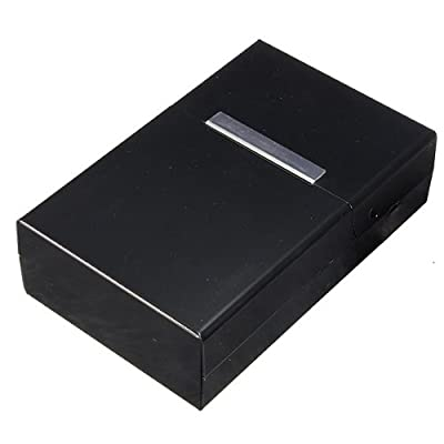 TOOGOO(R) Magnetic King Size Metal Aluminum Pocket Cigarette Cigar Tobacco Box Case Holder - Black