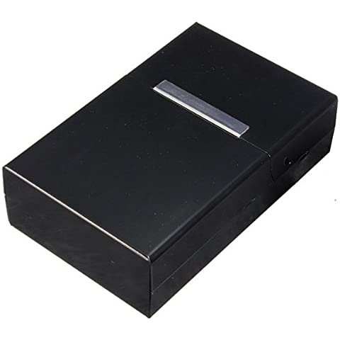 TOOGOO (R) Caja Soporte para Cigarrillos Tabaco Magnetico Metal Aluminio - Negro