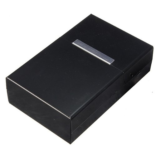 SODIAL (R) Magnetic King Size Metallo Alluminio Pocket sigaretta Cigar Tobacco Caso Holder Box - Nero - Scatola Caso Holder