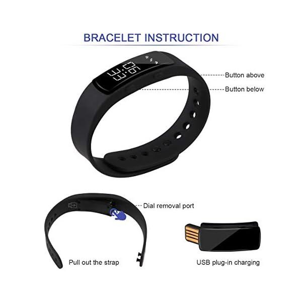 Hootracker Pulsera Actividad Fitness Smart Watch Tracker Contador de Pasos, Contador de Calorías,Distancia niños Mujer Hombre - Non-Bluetooth Non-App 5