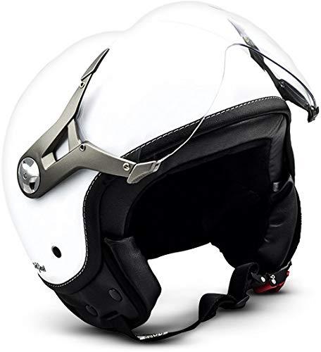 SOXON SP-325-MONO Snow · Retro Bobber Motorrad-Helm Helmet Pilot Scooter-Helm Cruiser Chopper Roller-Helm Vintage Biker Vespa-Helm Jet-Helm Mofa · ECE zertifiziert · mit Visier · inkl. Stofftragetasche · Weiß · L (59-60cm)
