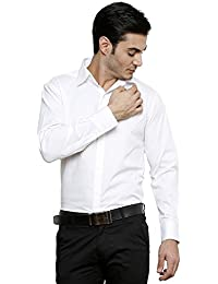 DAZZIO Solid Slim Fit White Formal Shirt (Please Refer Size Chart)