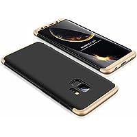 Funda Samsung Galaxy S9 Case Lanpangzi 3 en 1 Combinación [Protector de Pantalla de Vidrio Templado] Silicona TPU 360 Grados de Protección Anti-Golpes Protectora Cover - Oro y Negro