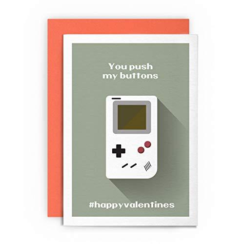 Valentinstagskarte – You Push My Buttons – Lustige lustige freche Retro-Gaming-Gruß Liebe für Ihn, Freund, Freundin, Ehefrau, Schwule, St. Cupid, Valentinstag