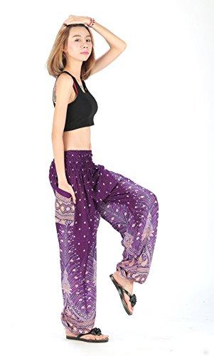 CandyHusky Haremshosen für Frauen Aladin im Hippy, Bohemian, Zigeunerstil für den Sommer am Strand oder als Yogahosen, Einheitsgröße Pfauenfeder Violett