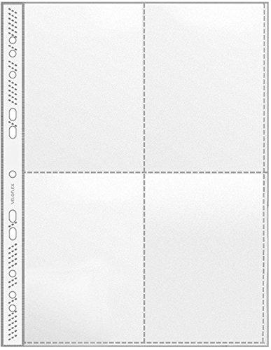 Veloflex 5336000 Sammelhülle A4, Fotohülle, passend für 4 x A6 hoch, 4-Fächer, PP, dokumentenecht, 100 Stück