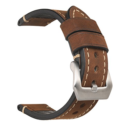 20mm Mens Watch Band,EACHE Genuine Leather Handmade Watch Replacement Strap,Dark Brown-Silver Hardware