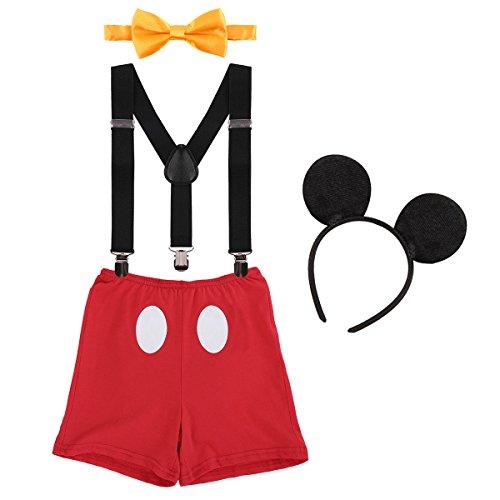 IBTOM CASTLE Neugeborenen Kleinkind Baby 1./2./3. Geburtstag Mickey Mouse Halloween Kostüm Outfit Hosen+Fliege+Clip-on Hosenträger+Maus Ohren 4pcs Bekleidungssets Foto-Shooting 008 Rot 12-18 Monate