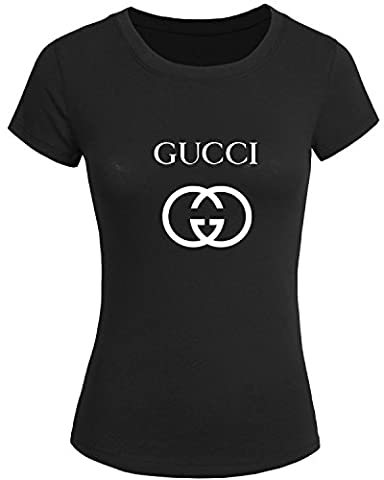 Treask Gucci Logo For 2016 Womens Printed Short Sleeve tops t shirts, 3Black, Small