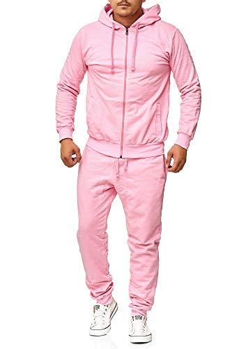 Herren Rosa Anzug - Violento Herren Jogginganzug- Unifarben (XL,