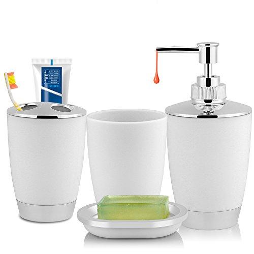 Asixx Tuta da Bagno, 4 Pezzi/Set Accessori da Bagno Completo Include Tazza spazzolino, Dispenser di Sapone e Porta spazzolino da Denti per Mettere 2 spazzolini da Denti e 1 dentifricio(Bianca)