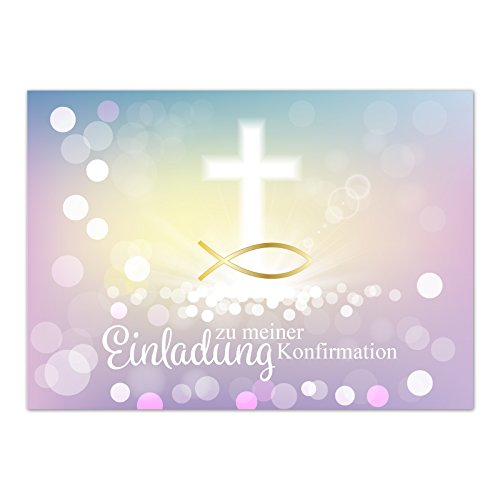 15 x Einladungskarten zur Konfirmation mit Umschlägen / Moderne Farben, Fisch Gold / Konfirmationskarten / Einladungen zur Feier