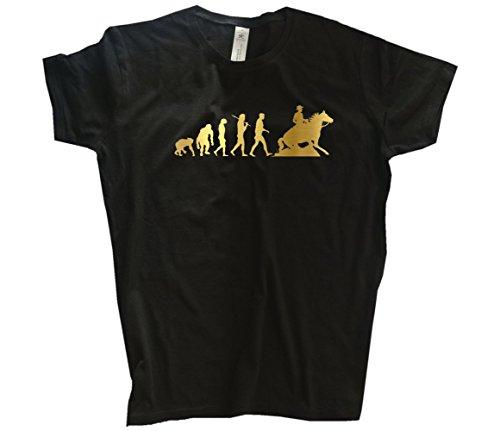 Gold Edition Sliding Stop Rodeo Western Reiten Pferd Evolution Girlie-Shirt Schwarz L