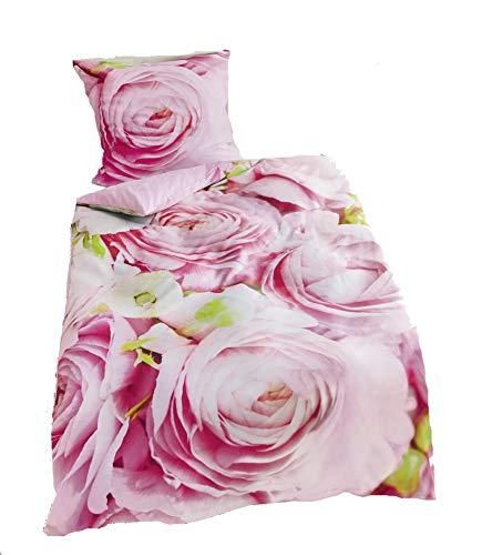 Bierbaum Mako Satin Bettwäsche Digitaldruck 5105 Rosen pink
