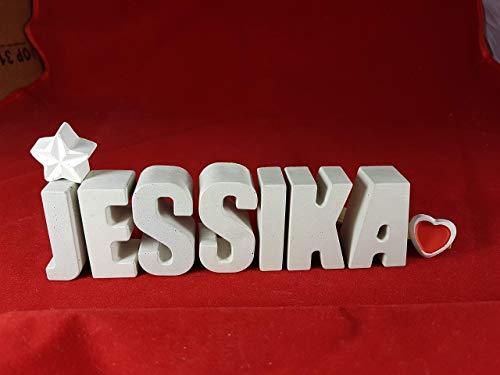 Beton, Steinguss Buchstaben 3 D Deko Namen JESSIKA mit Stern und Herzklammer als Geschenk verpackt! Ein ausgefallenes Geschenk zur Geburt, Taufe, Geburtstag oder auch zu anderen Anlässen. 1