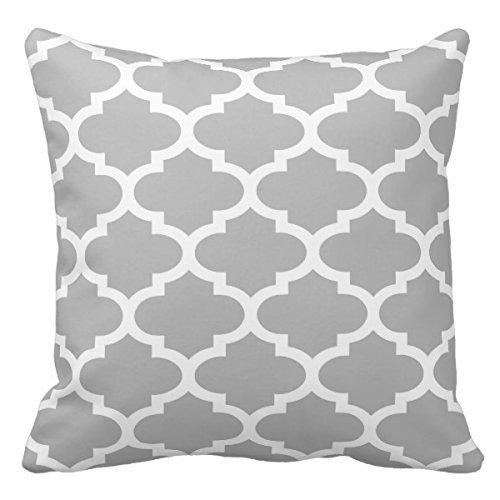Marokkanisches Gitter (Grau Weiß Marokkanische Vierpass-Gitter Muster # 2Personalisierte quadratisch Baumwolle Polyester Überwurf Kissen Fall Decor Kissen 45,7x 45,7cm)