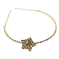 AccessHer Wedding Collection Party wear Rhinestone Studded Golden Metal Sitara Hair Band Hair accessory head gear Headband Crown Tiara Pageant for Girls and Women