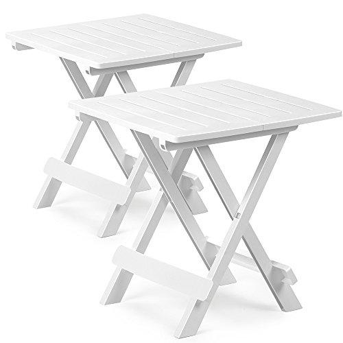 2x Klapptisch Adige | witterungsbeständig Weiß 45 x 43 x 50 cm Kunststofftisch Beistelltisch Balkontisch Gartentisch