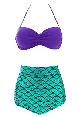 Yingniao Meerjungfrau Mädchen 2-Teile-Set Bikini Kostüm Badeanzug Schwimmanzug Hohe Taille (Hübsch Und Ihre Sein Kostüme)