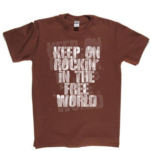 Keep On Rockin in the Free World Peace Love Hippy Hippie 60s Tee T-shirt Braun