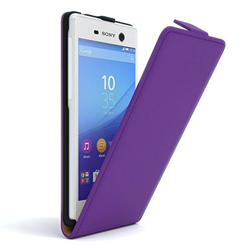 Sony Xperia M5 Hülle - EAZY CASE Premium Flip Case Handyhülle - Schutzhülle aus Leder in Schwarz Lila (Flip)