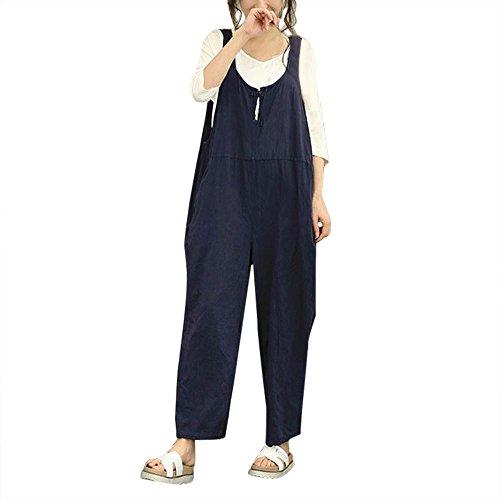 JiaMeng Jumpsuit - Salopette da Donna Senza Maniche Salopette Lunga in Jersey di Cotone Sciolto Body Monopezzi e Tutine Tuta Onesies di Colore Solido Tuta da Lavoro Fionda (M, Blu Navy)
