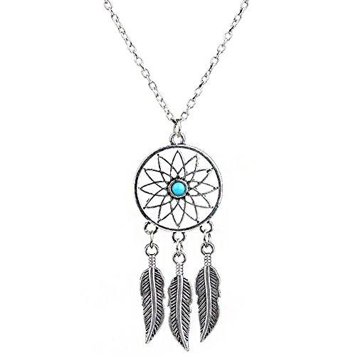 Collar con colgante en forma de atrapasueños decorado con plumas, estilo retro, con turquesa, ideal como regalo para familiares y amigos, plateado