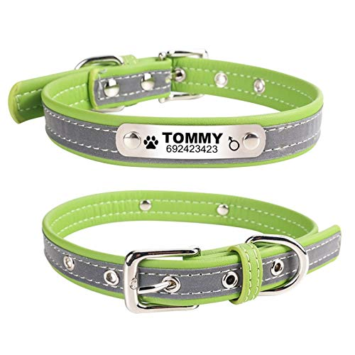 Hykis - Reflective Leather Personalized Engraved Dog Collar Custom Puppy Cat Pet Collars ID Tag for for Small Medium Dogs [M Green]