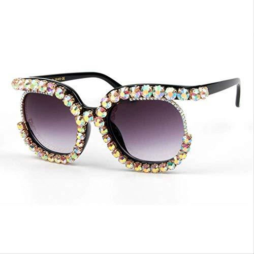 LKVNHP Neue Art undWeise Maxi -Frauen -Sonnenbrille Luxuxmarken Cat Eye Brillen Halbrahmen Strass -Sonnenbrille -Männer Weinlese Shades Oculos Uv400AB