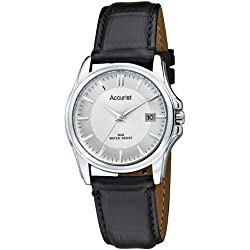 Accurist Men's Quartz Watch with Silver Dial Analogue Display and Black Leather Strap Ms877S