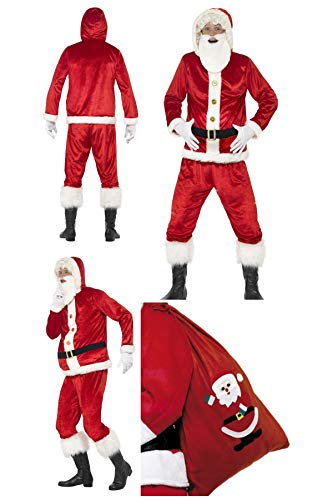 Fancy Dress World - Mens Adult Jolly Santa Claus Father Christmas Costume - Jacket Padded Belly Sound Chip Trousers & Beard FREE Santa Sack - Santa's Grotto Panto Party Fun Medium 46751