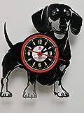 Einzigartige Vinyl-Wanduhr, Motiv: Dackel Hund Hund Hund Hund Hund Hund Hund Hund Geschenk 30,5 cm schwarz Kreis Mama Papa Kinder Freund und Haustier Safe Hund Liebhaber