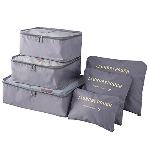 Travistar 6 Stück Kleidertaschen Reisetasche in Koffer Wäschebeutel Schuhbeutel Kosmetik Würfel Reisegepäck Veranstalter