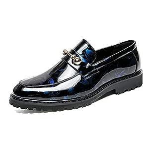 Tufanyu Business Oxford da Uomo Trend Casual alla Moda Scarpe da Cerimonia in Vernice antiruggine con Bottoni in Metallo abbinati Accogliente (Color :