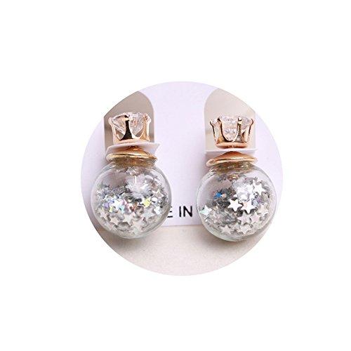 The Young® Boule de cristal Zircon Boucles d'oreilles clous style coloré suffit Cinq étoiles Fashion Jewelry fashionearring Double Boucles d'oreilles argent gris