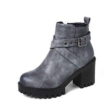 Sanmulyh Femmes Chaussures Similicuir Automne Hiver La Mode Bottes Bottes Bootie Chunky Talon Bout Rond Bottines / Bottines Boucle Pour Bureau Et Carrière Gris