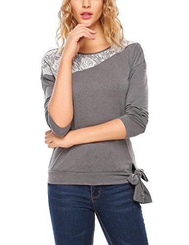 Parabler Damen Langarm Spitze Hemd Rundhals Tops Shirt Bluse Loose Casual Oberteil Herbst Langarmshirt Pulli