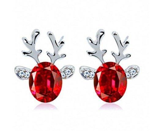 Buweiser Kristall Edelstein Geweih Ohrringe Luxus dreidimensionale Weihnachten Rentier Ohrringe Damen Mädchen Geschenke (Crystal Rentier)