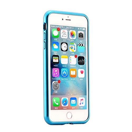 Custodia Cover iPhone 6/6S plus,Ukayfe Ultra Slim Custodia Cover Resistenti per iPhone 6/6S plus con 2 in 1 Confine di Placcatura Disegni Bella Vintage Elegante Cristallo Casa Coperture Sottile Morbid Blu 4#