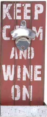 Nostalgischer Wandflaschenöffner mit Auffangbehälter - Antik Look - Flaschenöffner - Bieröffner - Öffner - Männergeschenk - Kapselheber, Farbe:Rot