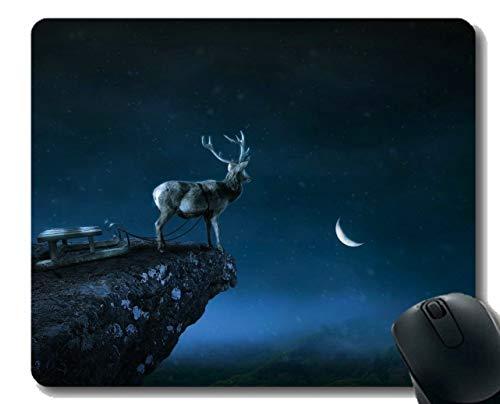 Gaming Mouse Pad Design, Deer, Nacht, Natur-Genähte Kanten