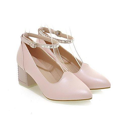 VogueZone009 Damen Pu Leder Rein Schnalle Spitz Zehe Mittler Absatz Pumps Schuhe Pink
