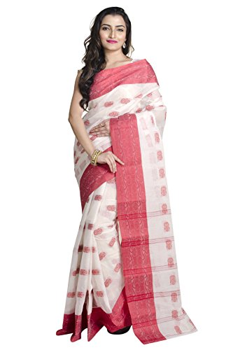 Upama White Cotton Saree