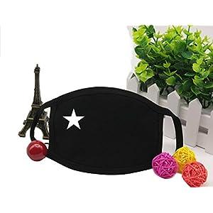 2Unisex Anti-Staub schwarz Baumwolle Cechya Gesichtsmaske Mund Muffel-bedruckt mit weißen Sternen