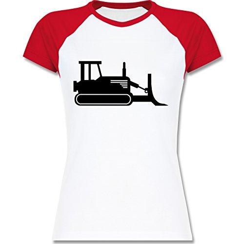 Andere Fahrzeuge - Raupenfahrzeug - zweifarbiges Baseballshirt / Raglan T-Shirt für Damen Weiß/Rot