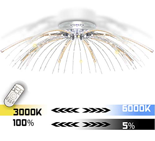 XXL LED Deckenlampe Kristall Deckenleuchte dimmbar Kalt Warm Weiß Farbwechsel Luxus Lampe Kronleuchter Modern Wohnzimmer 88cm Lewima ABANDON