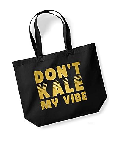 Don't Kale My Vibe - Large Canvas Fun Slogan Tote Bag (Black/Gold)