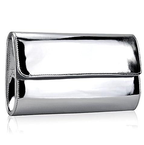 Xardi London Silver Large Metallic Patent Women Clutch Designer Ladies Wedding Prom Evening Bags
